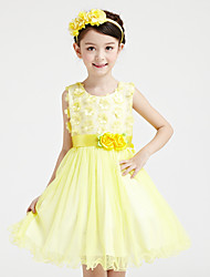 A-line Short / Mini Flower Girl Dress - Cotton / Satin / Tulle Sleeveless Jewel with Flowers