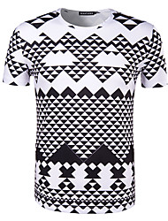Men's Sports Going out Casual/Daily Holiday Simple T-shirt,Print Plaid Round Neck Short Sleeve Cotton