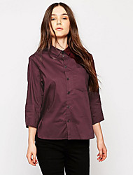 Women's Casual/Daily Vintage All Seasons Blouse,Solid Shirt Collar Long Sleeve Red / Black Polyester Thin