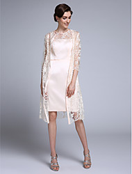 Lanting Bride® Sheath / Column Mother of the Bride Dress Knee-length 3/4 Length Sleeve Chiffon / Lace with Lace