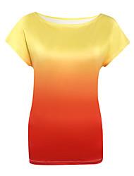 Damen Druck Sexy Ausgehen T-shirt,Rundhalsausschnitt Sommer Kurzarm Blau / Rosa / Orange Polyester Dünn