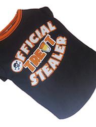 Cães Camiseta Preto Verão Carta e Número