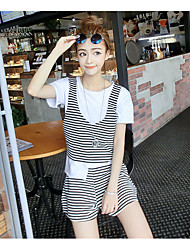 Women's Going out Simple Summer Set,Solid / Striped Round Neck Short Sleeve White / Black Cotton Medium