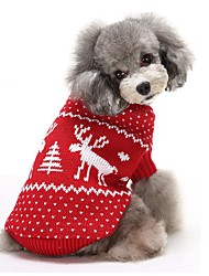 Cat Dog Sweater Dog Clothes Winter Reindeer Keep Warm Christmas Red Blue