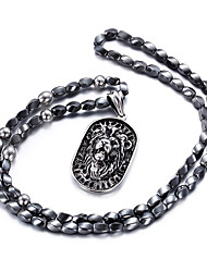 Kalen® Excellent Jewelry 316L Stainless Steel Animal Lion Pendant Beads Long Necklaces Men's Sweater Necklaces Christmas Gifts