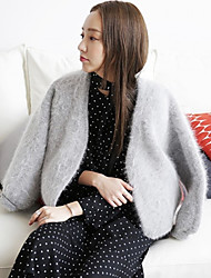 Women's Going out Sexy Short Cardigan,Solid Gray V Neck Long Sleeve Cashmere Summer Medium