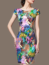 Women's Formal Holiday Plus Size Vintage Sheath Dress,Floral Round Neck Above Knee Sleeveless Silk Summer Fall Mid Rise Micro-elastic