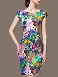 Mulheres Bainha Vestido,Formal / Férias / Tamanhos Grandes Vintage Floral Decote Redondo Acima do Joelho Sem Manga Colorido SedaVerão /