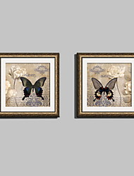 E-HOME® Framed Canvas Art, Butterflies And Flowers Framed Canvas Print Set of  2