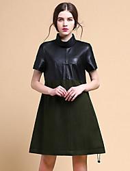 Mujer Vaina Vestido Noche Bonito,Un Color Escote Chino Sobre la rodilla Manga Corta Negro Lana Primavera Tiro Medio Microelástico