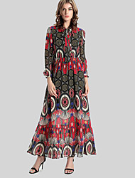Women's Casual/Daily Vintage Swing Dress,Print Stand Maxi Long Sleeve Red Polyester Fall / Winter