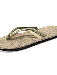 Unisex Slippers & Flip-Flops Summer Comfort Canvas Casual Flat Heel Braided Strap Black Red Green