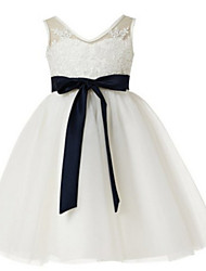 Ball Gown Knee-length Flower Girl Dress - Tulle Sleeveless V-neck with Appliques / Lace / Sash / Ribbon