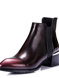 Women's Boots Combat Boots Patent Leather Fall Dress Combat Boots Chunky Heel Burgundy 2in-2 3/4in