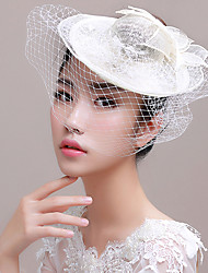Women's Tulle / Flax Headpiece-Wedding / Special Occasion Fascinators / Birdcage Veils 1 Piece Wedding Hats