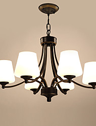 6 Heads Retro Glass Chandelier Living Room Restaurant Pendant Light