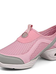 Women's Dance Shoes Sneakers Breathable Synthetic Low Heel Gray/Pink