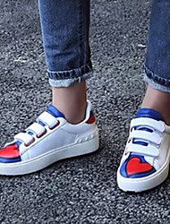 Women's Sneakers Fall Comfort / Round Toe Nappa Leather Casual Flat Heel Magic Tape White Others