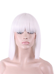 The New Cos Wig White Neat Bang BOBO Short 12 Inch