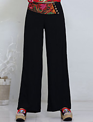 Pantalon Aux femmes Large simple / Chinoiserie Coton Micro-élastique