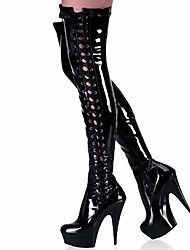 Women's Boots Spring/Fall/Winter Heels / Motorcycle Boots Patent Leather Party & Evening Stiletto Heel Dress Black