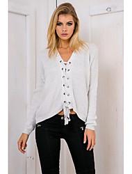 Normal Pullover Femme Décontracté / Quotidien Chic de Rue,Couleur Pleine Gris Col en V Manches Longues Polyester Hiver Fin Micro-élastique