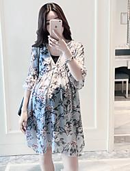 Maternidad Corte Ancho Vestido Casual/Diario Simple,Floral Escote en V Profunda Sobre la rodilla Manga Corta Azul Otro Verano