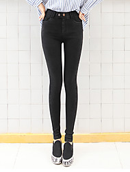 Women's Solid Black Skinny / Jeans Pants,Simple