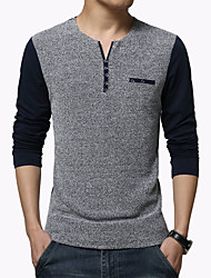 Men's Fashion Patchwork Round Collar Buttons Slim Fit Long-Sleeve T-Shirt, Cotton/Plus Size/Casual