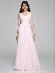 TS Couture Sheath / Column Wedding Dress Wedding Dress in Color Floor-length Straps Organza with Side-Draped