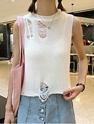 Damen Kurz Pullover-Lässig/Alltäglich / Ausgehen Einfach Solide Weiß / Grau Rundhalsausschnitt Ärmellos Nylon Sommer Dünn