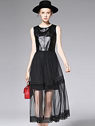 AFOLD® Women's Round Neck Sleeveless Tea-length Dress-6003