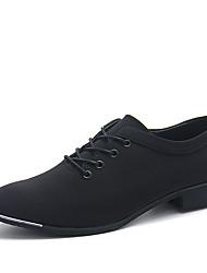 Herren-Sneaker-Lässig-Stretch - Satin-Flacher Absatz-Komfort-Schwarz Blau