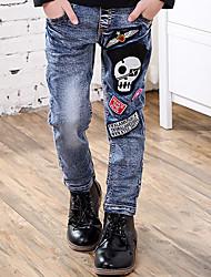 Boy's Cotton Spring/Autumn Fashion Applique Embroider Cartoon Denim Jeans