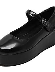 Черный-Женский-На каждый день-Полиуретан-На танкетке-На танкетке / С круглым носком-Обувь на каблуках