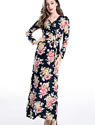 Women's Going out / Party/Cocktail Vintage / Boho Sheath Dress,Floral V Neck Maxi Long Sleeve Red  Rayon All Seasons