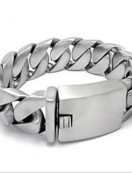 Punk Style Men's 316 Titanium Steel Silver  Fine Jewelry Chain Bracelet (2.35*21.5cm)