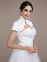 Wedding  Wraps Shrugs Short Sleeve Satin Ivory Wedding Party/Evening High Neck Clasp