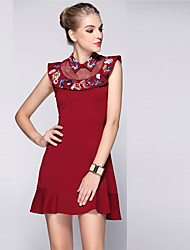 Boutique S Women's Going out Sophisticated Dress,Solid Shirt Collar Above Knee Sleeveless Red Polyester Spring/Summer