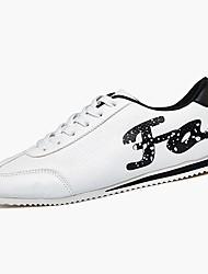Herren-Sneaker-Lässig-PU-Flacher Absatz-Komfort-Schwarz Rot Weiß