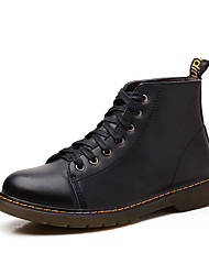 Men's Boots Winter Leather Casual Low Heel Others Black Brown Burgundy Walking