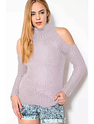 Women's Casual/Daily Street chic Long Pullover,Solid Pink Turtleneck Long Sleeve Polyester Winter Thin
