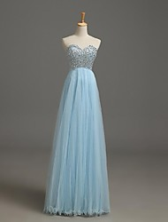 A-Line Sweetheart Floor Length Tulle Formal Evening Dress with Beading