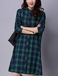 Women's Casual Street chic Fall Dress and Shirt,Plaid Shirt Collar Long Sleeve Blue / Red / Green Cotton / Linen Medium
