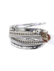 Fashion Women Multi Rows Stone Set Feather Drop Leather Bracelet
