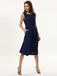 Women's Blue/Purple Round Neck Bow Dress, Polyester Midi Sleeveless