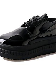 Women's Sneakers Spring / Fall Creepers Leatherette Outdoor / Athletic Platform Lace-up Black / White Sneaker
