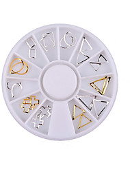 1PC Nail Art  Rotary Table Hollow Out    The Rivet Heart The Cross Square Metal The Patch Decoration