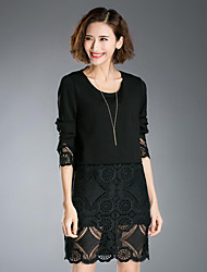 Women's Plus Size Street chic Sheath Dress,Patchwork Round Neck Above Knee Long Sleeve Black Cotton Spring / Fall