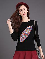 Damen Standard Pullover-Lässig/Alltäglich Street Schick Druck Rot / Beige / Schwarz / Grau / Gelb Rundhalsausschnitt Langarm Baumwolle